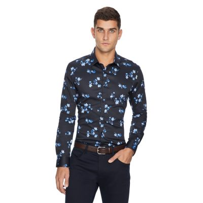 Fashion 4 Men - yd. Apollo Floral Slim Fit Shirt Dark Blue M
