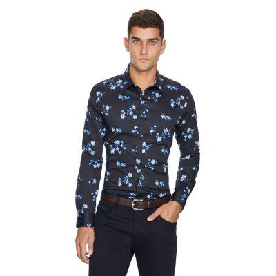Fashion 4 Men - yd. Apollo Floral Slim Fit Shirt Dark Blue Xxxl