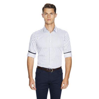 Fashion 4 Men - yd. Bonder Stripe Shirt White S