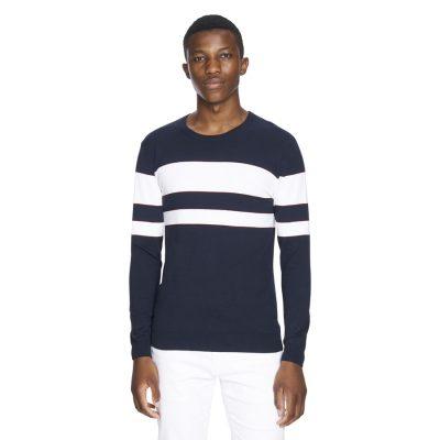 Fashion 4 Men - yd. Duke Stripe Knit Navy/White 2 Xs