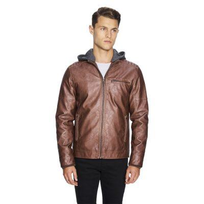 Fashion 4 Men - yd. Hooded Cassan Biker Jacket Tan 2 Xs