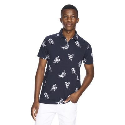 Fashion 4 Men - yd. Large Floral Polo Navy S