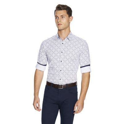 Fashion 4 Men - yd. Large Geo Slim Fit Shirt White M