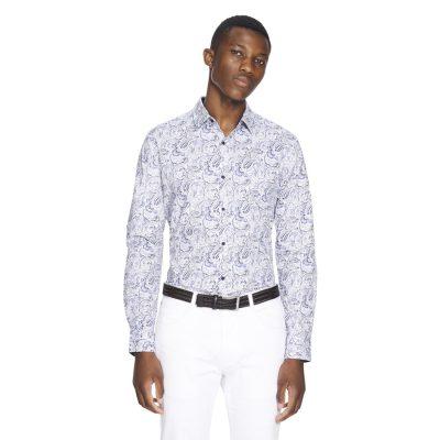 Fashion 4 Men - yd. Luv Paisley Slim Fit Shirt Blue 2 Xs