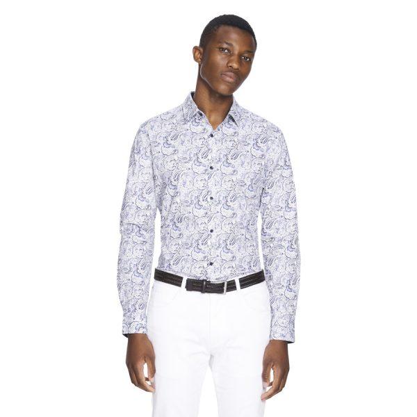Fashion 4 Men - yd. Luv Paisley Slim Fit Shirt Blue Xl