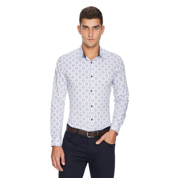 Fashion 4 Men - yd. Morocco Tile Slim Fit Shirt White L