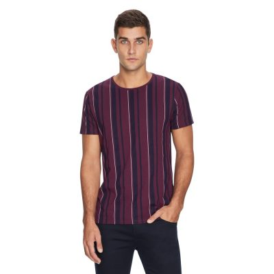 Fashion 4 Men - yd. Printed Stripe Tee Burgundy 2 Xl
