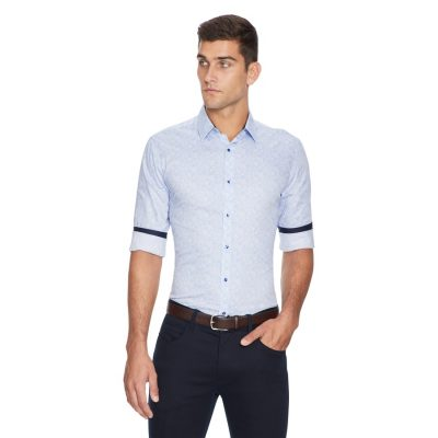 Fashion 4 Men - yd. Saxon Paisley Shirt Light Blue L