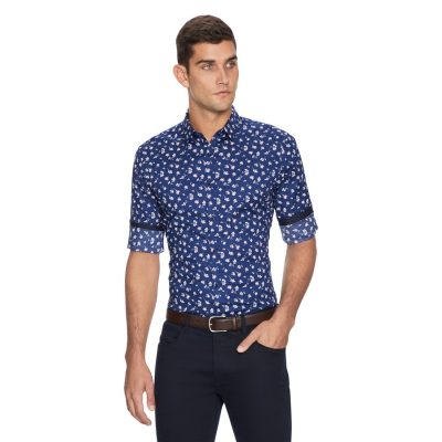 Fashion 4 Men - yd. Scout Printed Slim Fit Shirt Blue M