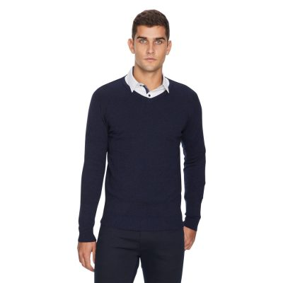 Fashion 4 Men - yd. Shay V Neck Navy 3 Xs