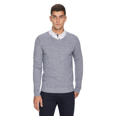 Fashion 4 Men - yd. Shay V Neck Salt & Pepper Navy 3 Xs