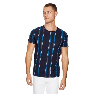 Fashion 4 Men - yd. Stripe Tee Dark Blue Xs