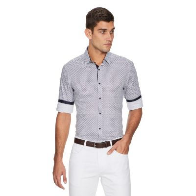 Fashion 4 Men - yd. Verse Tile Slim Fit Shirt White Xs