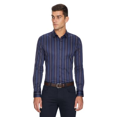 Fashion 4 Men - yd. Wide Stripe Slim Fit Shirt Dark Blue Xs