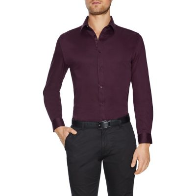 Fashion 4 Men - Tarocash Bahamas Slim Stretch Shirt Burgundy Xs