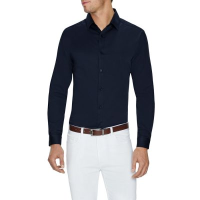 Fashion 4 Men - Tarocash Bahamas Slim Stretch Shirt Midnight Xs