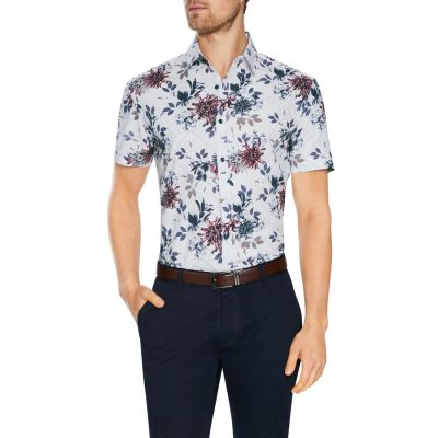 Fashion 4 Men - Tarocash Belair Stretch Floral Print Shirt White Xs