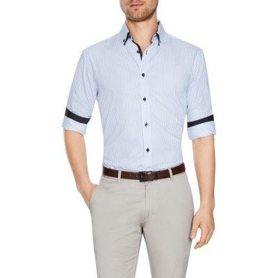 Fashion 4 Men - Tarocash Chelmsford Stripe Shirt Sky 4 Xl