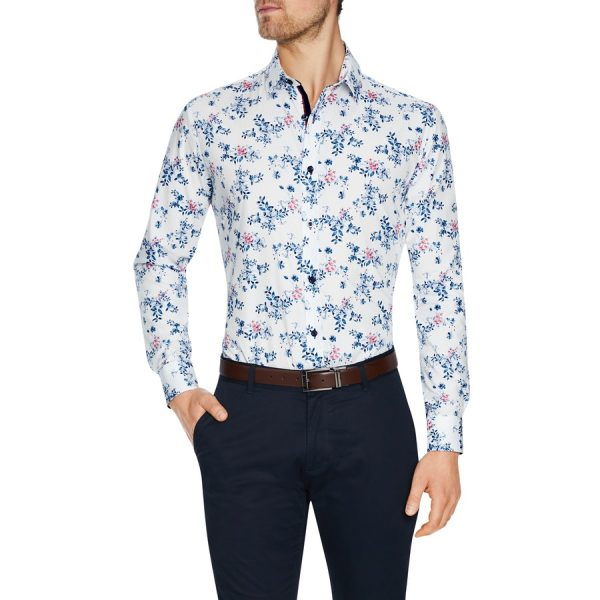 Fashion 4 Men - Tarocash Epsom Floral Print Shirt White Xl