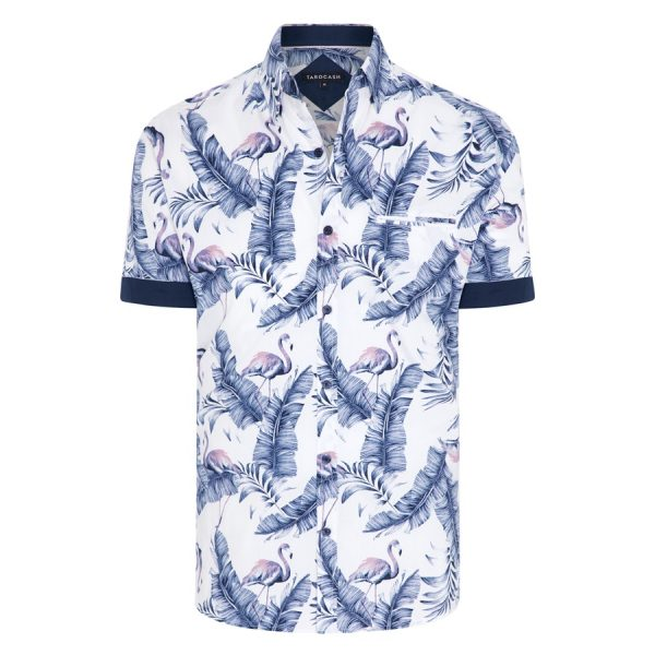 Fashion 4 Men - Tarocash Key Largo Flamingo Print Shirt White Xxxl