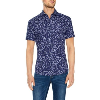 Fashion 4 Men - Tarocash Medina Print Shirt Navy M