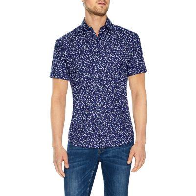 Fashion 4 Men - Tarocash Medina Print Shirt Navy Xxl