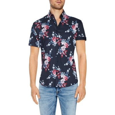 Fashion 4 Men - Tarocash Nevada Floral Stretch Print Shirt Navy L