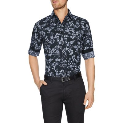 Fashion 4 Men - Tarocash Oakbank Floral Print Shirt Black Xs