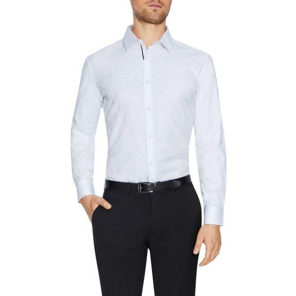 Fashion 4 Men - Tarocash Omar Jacquard Shirt White M