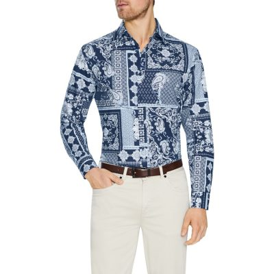 Fashion 4 Men - Tarocash Pedro Slim Print Shirt Navy Xxl