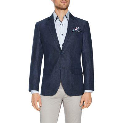 Fashion 4 Men - Tarocash Peter Linen Blazer Navy 4 Xl