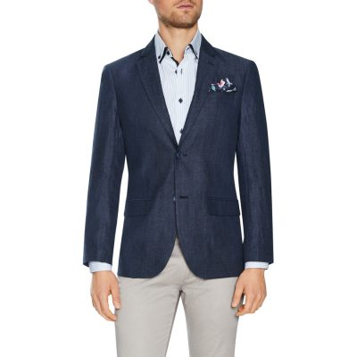 Fashion 4 Men - Tarocash Peter Linen Blazer Navy Xs