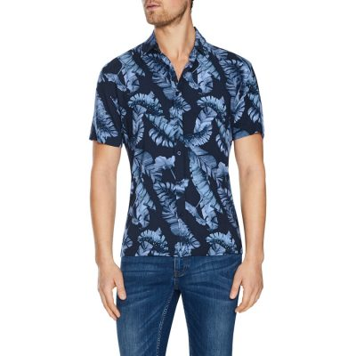 Fashion 4 Men - Tarocash San Sebastian Print Shirt Navy Xxl