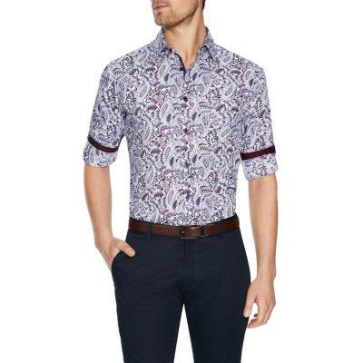 Fashion 4 Men - Tarocash Sandown Paisley Print Shirt Burgundy S