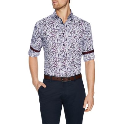Fashion 4 Men - Tarocash Sandown Paisley Print Shirt Burgundy Xxxl