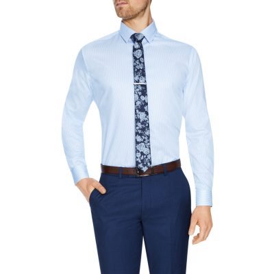 Fashion 4 Men - Tarocash Stripe Max Dress Shirt Sky L