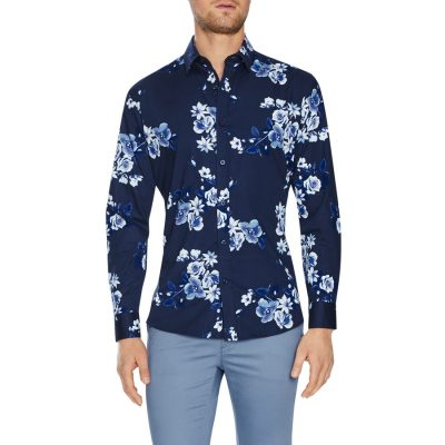 Fashion 4 Men - Tarocash Wexford Slim Stretch Floral Shirt Navy Xxxl