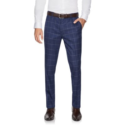 Fashion 4 Men - yd. Bryce Skinny Check Pant Dark Blue 40