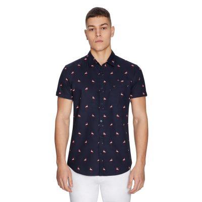 Fashion 4 Men - yd. Flamingo Shirt Dark Blue 2 Xs