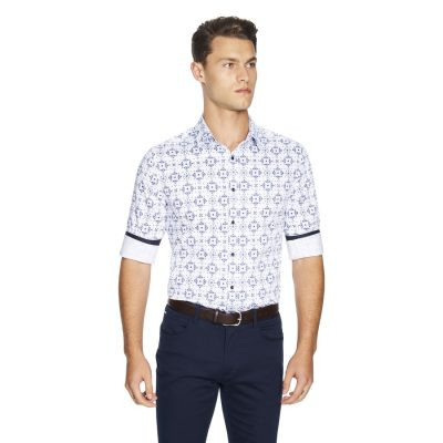 Fashion 4 Men - yd. Large Tile Slim Fit Shirt White S