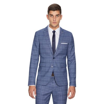 Fashion 4 Men - yd. Leo Skinny Check Suit Jacket Grey 44