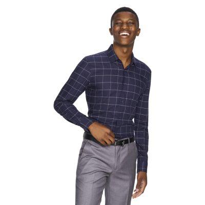 Fashion 4 Men - yd. Manny Check Slim Fit Dress Shirt Navy M