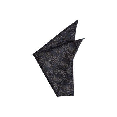 Fashion 4 Men - yd. Richie Paisley Pocket Square Navy/Black One