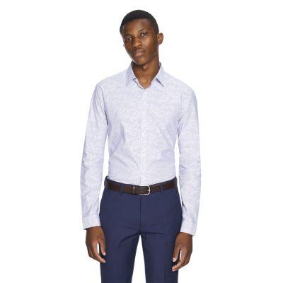 Fashion 4 Men - yd. Webston Stripe Slim Fit Dress Shirt Blue M