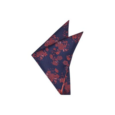 Fashion 4 Men - yd. Xavier Floral Pocket Square Navy/Red One