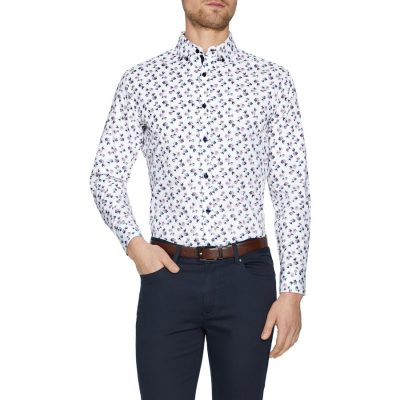 Fashion 4 Men - Tarocash Botany Slim Floral Print Shirt White L