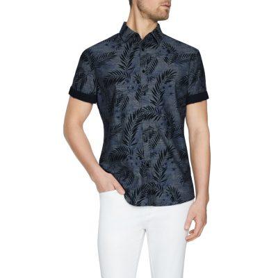 Fashion 4 Men - Tarocash Canyon Print Shirt Indigo Xl
