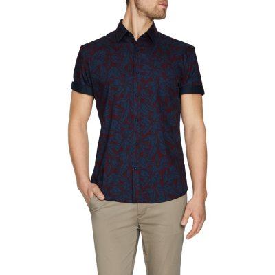 Fashion 4 Men - Tarocash Coast Print Shirt Burgundy S