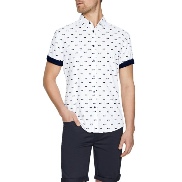 Fashion 4 Men - Tarocash Cool Shades Print Shirt White Xxl