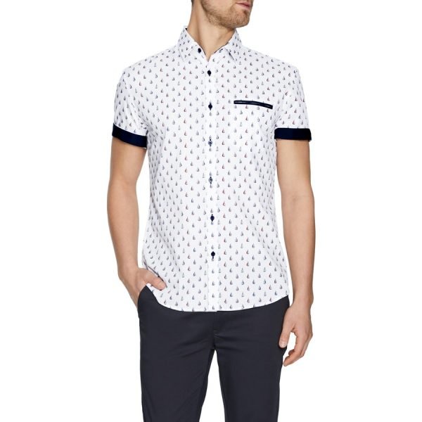 Fashion 4 Men - Tarocash Cruisin Print Shirt White Xxl